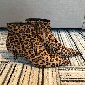ZARA Leopard Pointed Toe Booties NWT Size 37